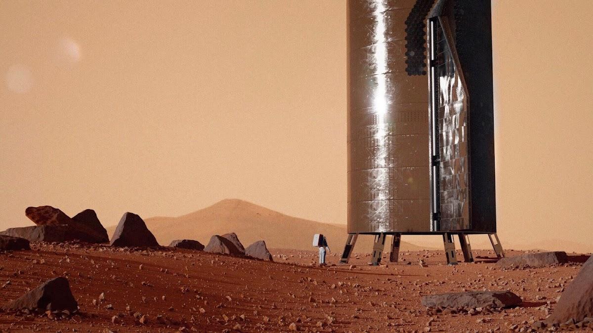 Astronaut standing near SpaceX Starship on Mars by Erik Corshammar