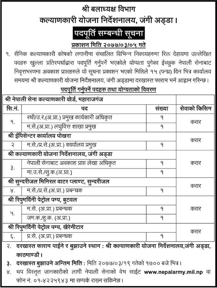 Nepal Army Fund for Welfare Vacancy Notice