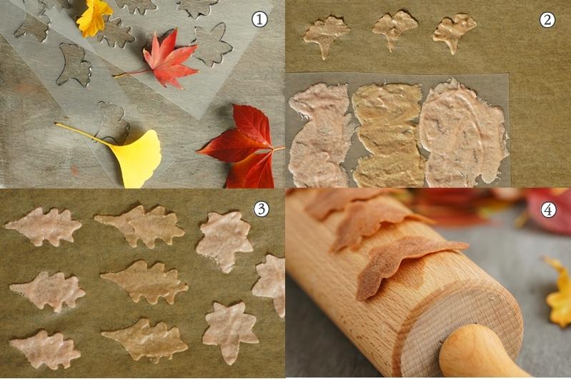 Tuile Blätter als Herbst Cupcake Deko selber machen Herbstblätter Kekse