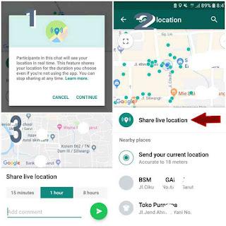 Cara share lokasi terkini di Whatsapp di smartphone