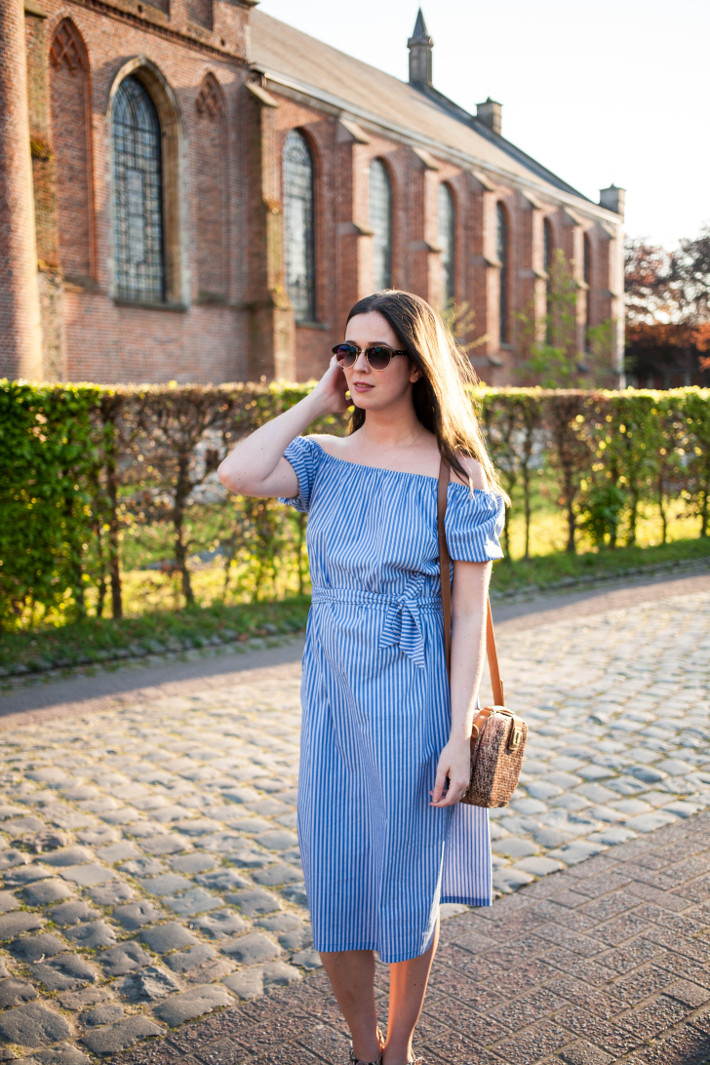 Outfit: Zara off-shoulder dress