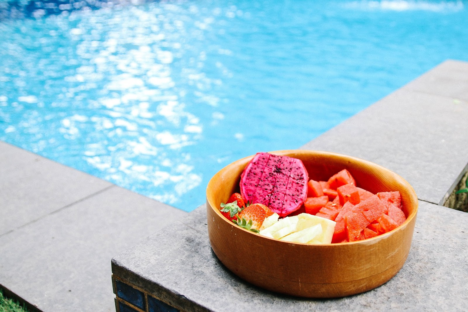 Fresh fruit by the pool at my apartment in Singapore  GlobalFashionGal by Brianna Degaston