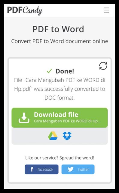 Proses ubah PDF ke Word berhasil