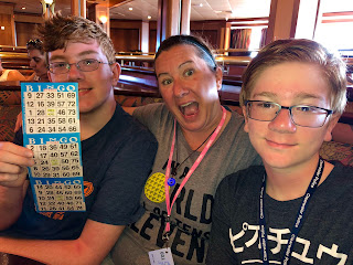 David Brodosi and family enjoying bingo on a cruise ship.