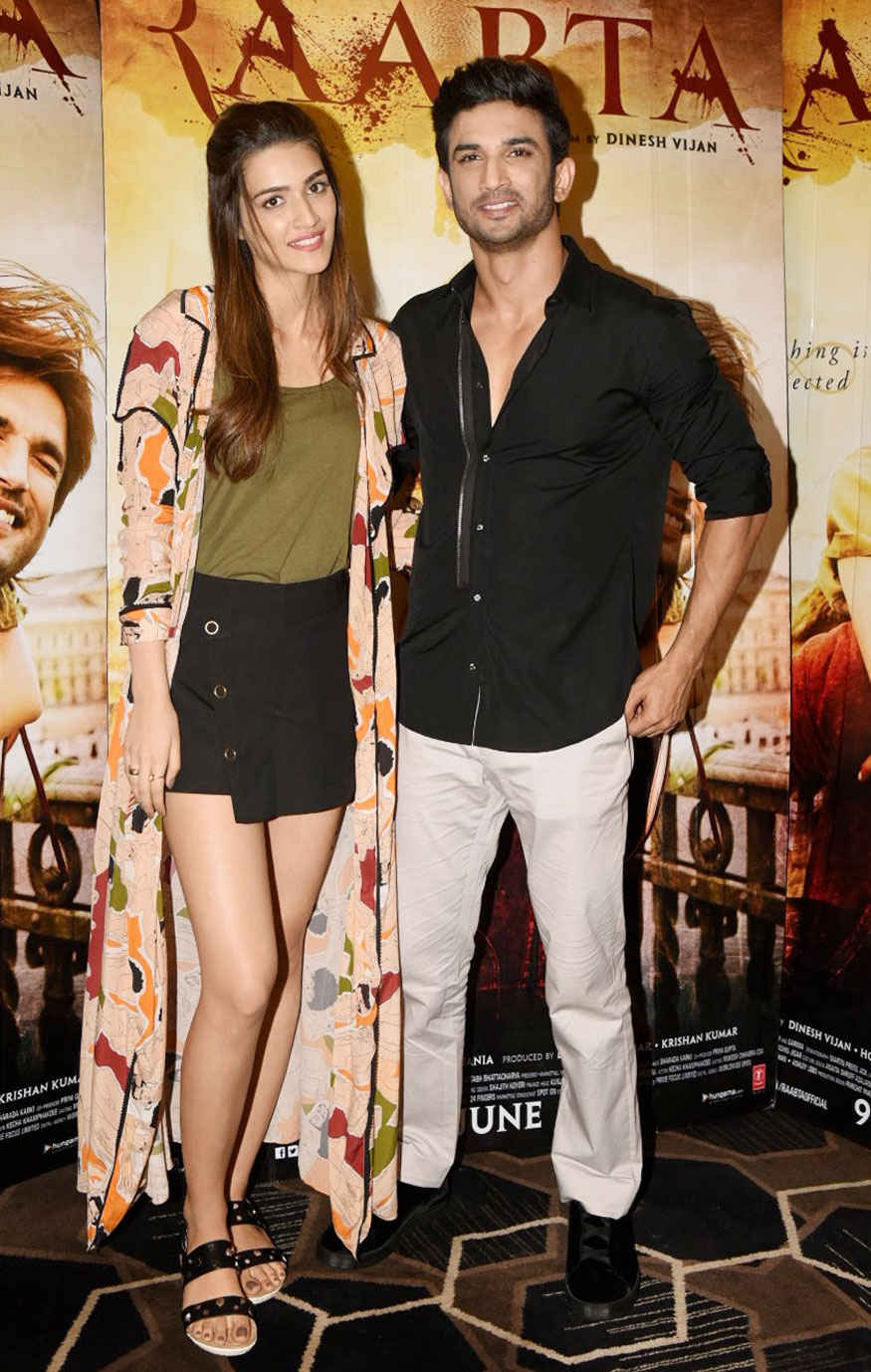 Sushant Singh and Kriti Sanon During a Promotion for 'Raabta' at Sun N Sand Hotel In Mumbai