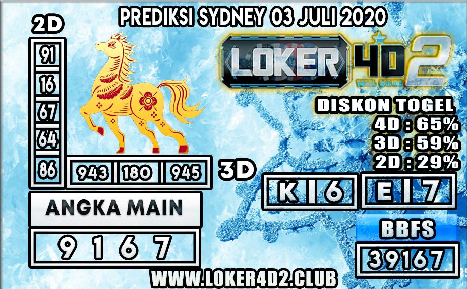 PREDIKSI TOGEL SYDNEY LOKER4D2 03 JULI 2020