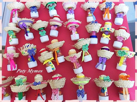 30 Tubetes decorados para festa junina