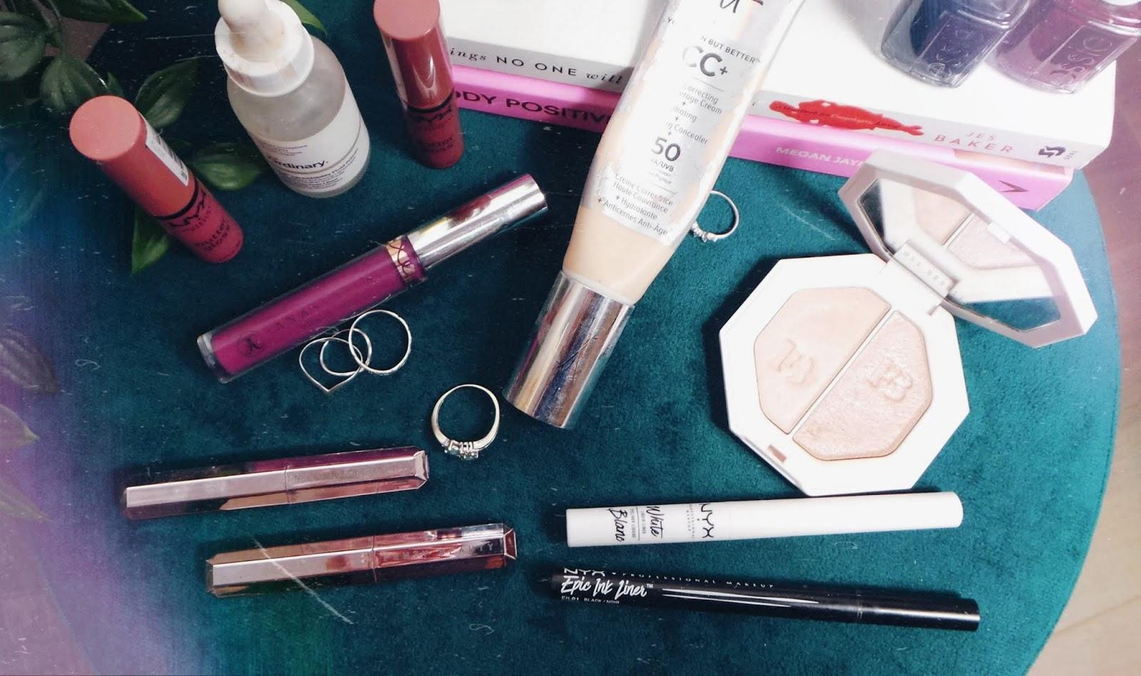a variety of lipsticks, eyeliner, highlighter and primer