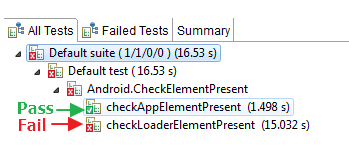 Verify element present in android automation test