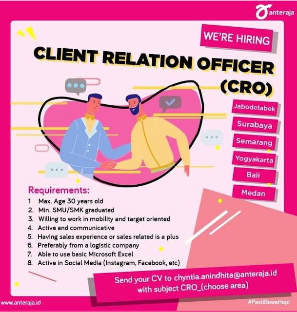 LOWONGAN KERJA DI ANTERINAJA SEBAGAI CLIENT RELATIONSHOP OFFICER(CRO)