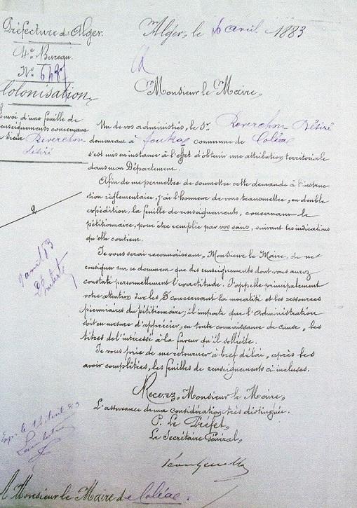 Lettre de la Préfecture d'Alger au Maire de Koléa