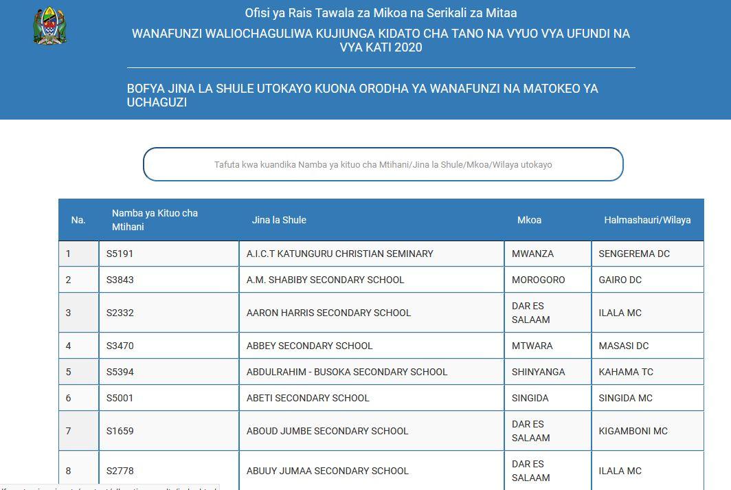 Form Five Selection 2020 | Waliochaguliwa Kujiunga Kidato Cha Tano 2020
