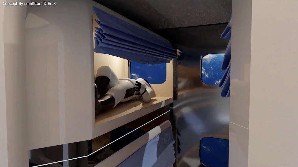 SpaceX's Starship interior concept by Erik Corshammar (ErcX) & smallstars - crew bunks (deck 2 & 3)