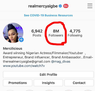 Mercy Aigbe Reaches 8Million Followers On Instagram