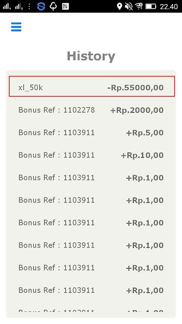 Bukti History Penarikan Pulsa Gratis Rp50.000 dari AyoSLide