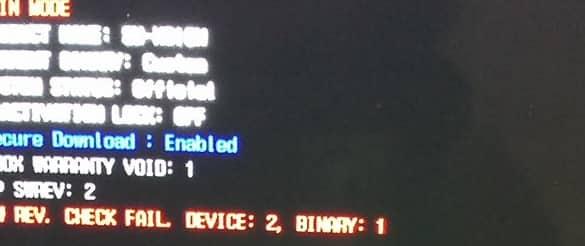 حل مشكلة ظهور الخطأ sw rev check fail 2 binary 1