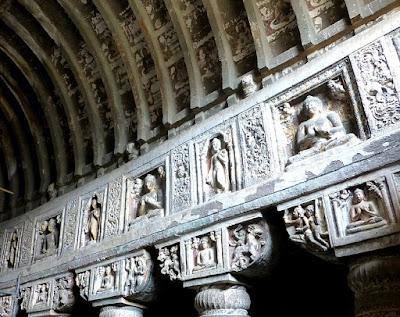 Pillar frieze showing various Buddha sculptures in panels