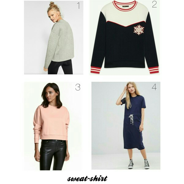 1. Sweat en tissu technique ZARA 2. Sweat en neoprene MAJE 3. Sweat court H&M 4. Robe sweat mi-longue ASOS