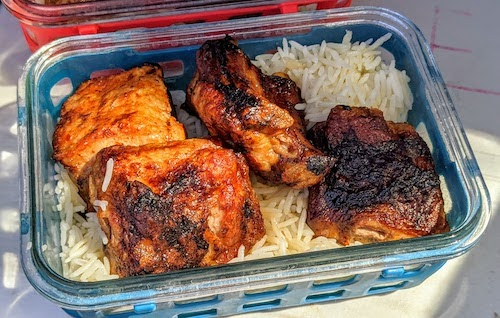 Babyback ribs over rice
