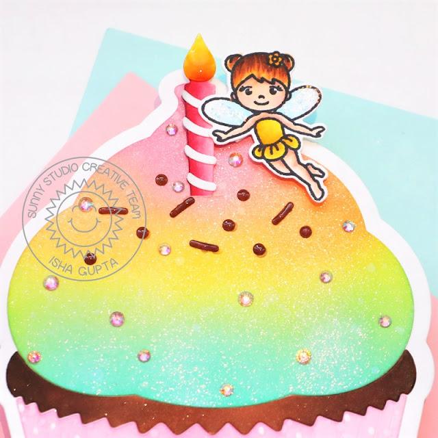 Sunny Studio Stamps: Cupcake Shaped Die Candy Shoppe Garden Fairy Birthday Card by Isha Gupta