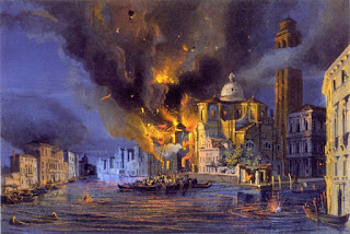 Luigi Querena's dramatic painting of the blazing Church of San Geremia on the Grand Canal during the Austrian bombardment