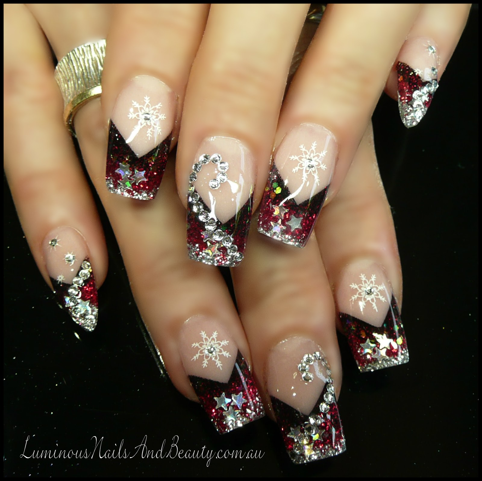 Acrylic nails  design set with swarovski crystals