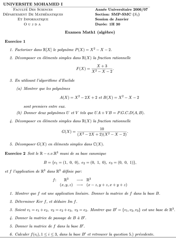 examen algèbre 1 2006/07 SMPC S1 fso