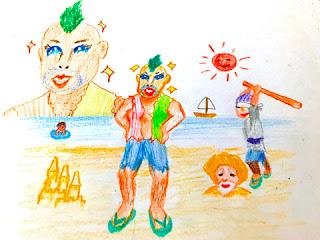 瞳がきれいな兄やんがビーチに立っているイラスト