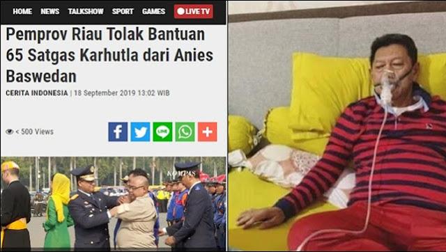 Kepala BPBD Riau yang Tolak Bantuan Anies Tangani Karhutla, Kini Terkapar Kena ISPA