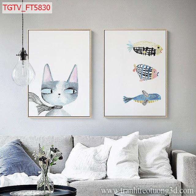 Bộ Tranh Treo Tường Mèo Kute
