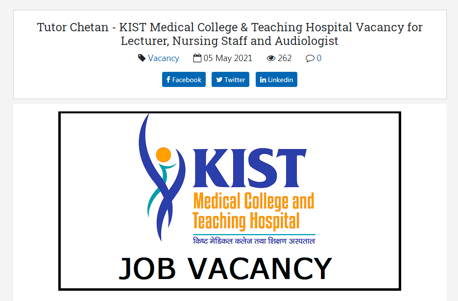 KIST Medical College & Teaching Hospital Vacancy Announcement for Lecturer, Nursing Staff and Audiologist
