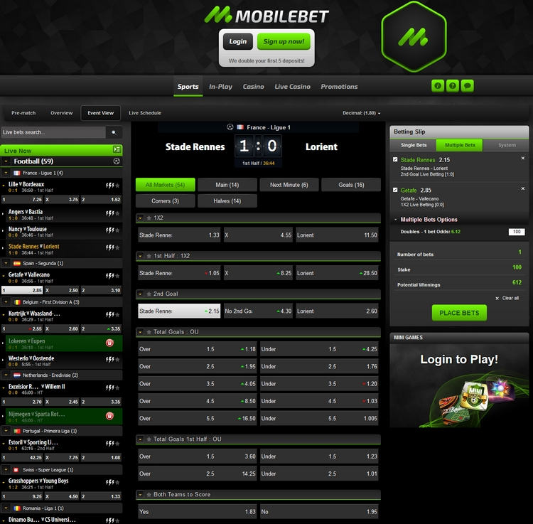 Mobilebet Live Betting Offers