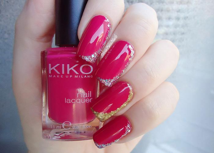 Pink glittery half moon manicure