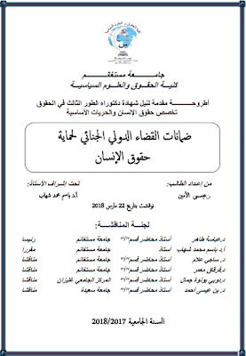 أطروحة دكتوراه: ضمانات القضاء الدولي الجنائي لحماية حقوق الإنسان PDF