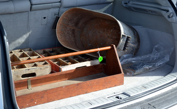 vintage flea market buys in back of car