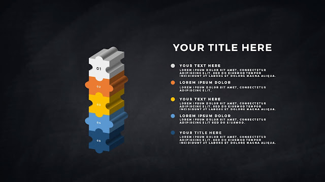 Free PowerPoint Template with 5 pieces 3D Puzzle infographics
