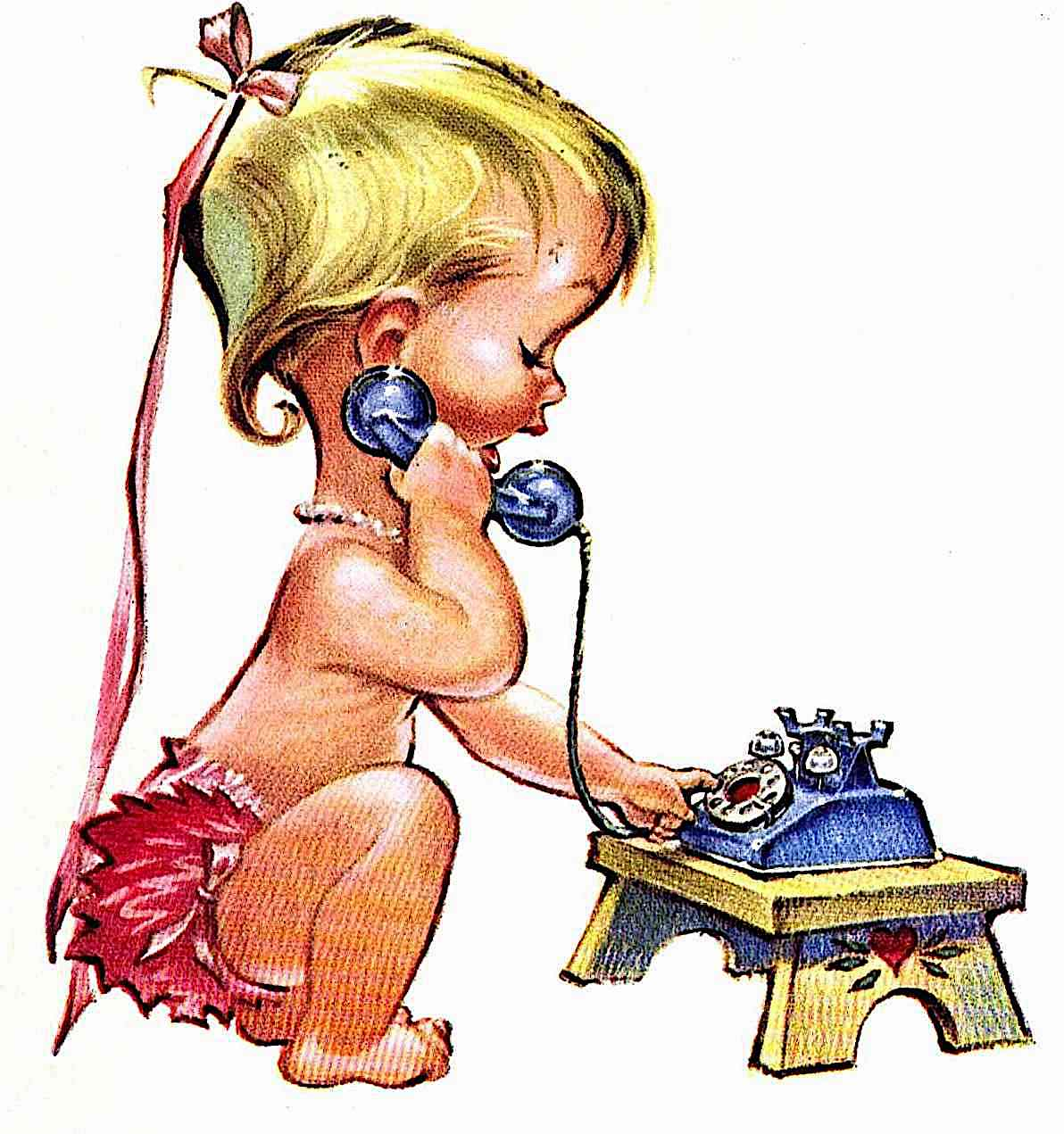 a Pete Hawley illustration for Bell Telephone, of an infant making a telephone call