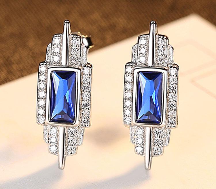 華麗風溫莎人造海藍寶石 925純銀耳環