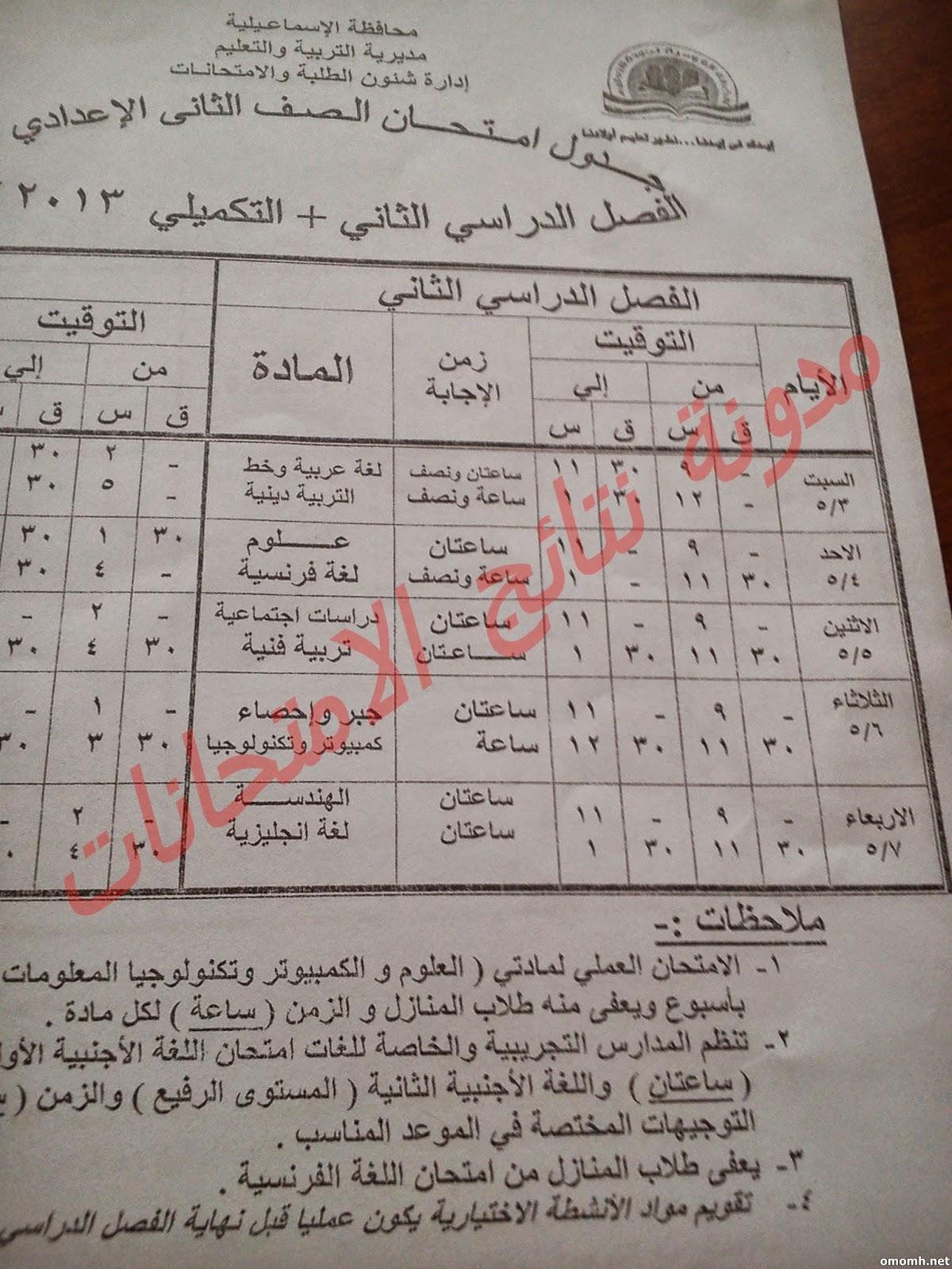 جدول ومواعيد امتحانات  الشهاده الاعداديه بالاسماعيليه 2014 الترم الثانى
