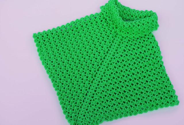 6-Imagen Crochet Poncho cuello de tortuga adulto a crochet y ganchillo y Majovle Crochet