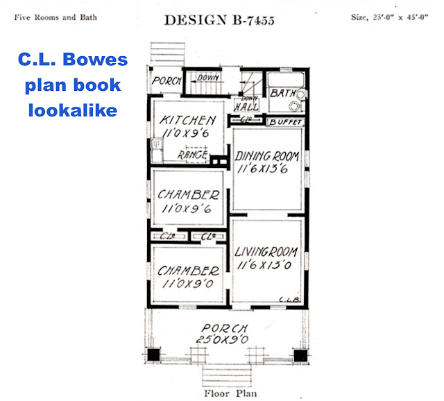 catalog image of floor plan of Sears Winona lookalike plan book model by C. L. Bowes
