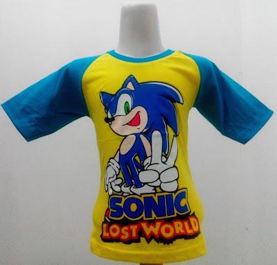 Kaos Raglan Anak Karakter Sonic 1 Lost World Kuning