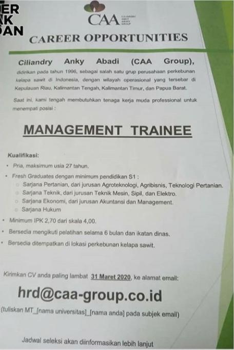 Lowongan Kerja Pt Ciliandry Anky Abadi Group Caa Group 31 Maret 2020 Lokertani Com Loker Pertanian Indonesia