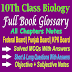 Glossary 10th Biology All Chapters Notes
