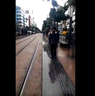 عربتين للترامواي على سكة واحدة يشل حركة السير بالدار البيضاء