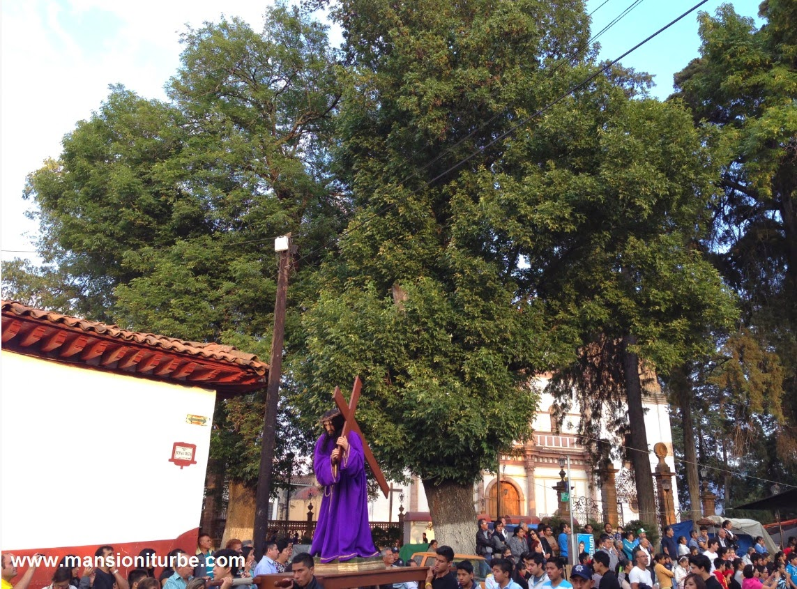 Christs Procession in Pátzcuaro during the Holy Week in Mexico