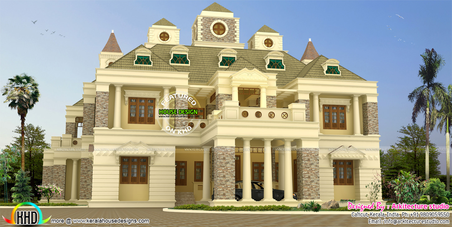 Luxury bungalow style colonial indian home kerala home for Plan of bungalow in india