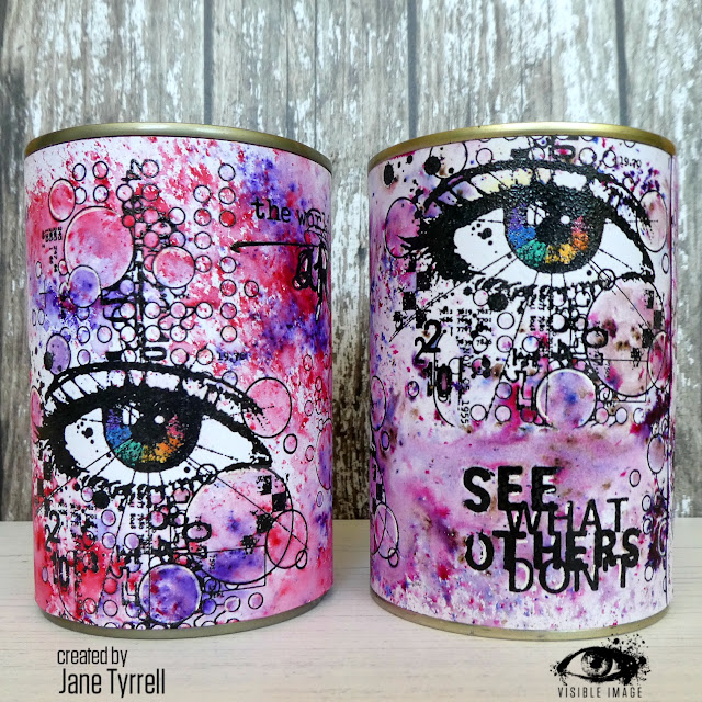 altered tins | stamping | eye stamp | mixed media | up cycling