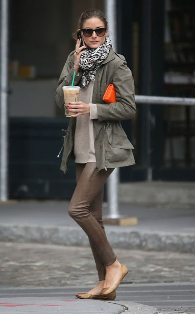 olive green army jacket with scarf and brown leather pants street style Olivia Palermo