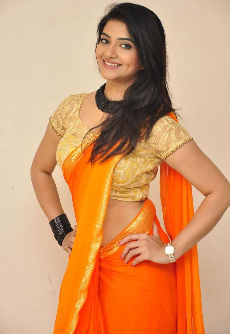 South Indian Hot Girl Kashmira Kulkarni Hip Show Photos In Orange Saree